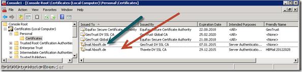 MMC: welche Zertifikate sind installiert