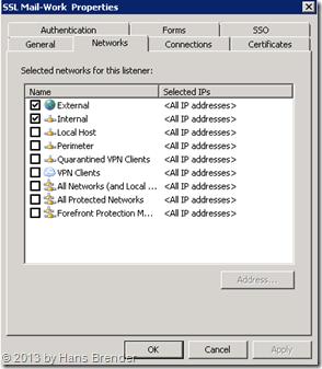 TMG Weblistener : für welche IP