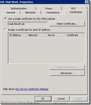 TMG Weblistener : SAN Zertifikat zuweisen