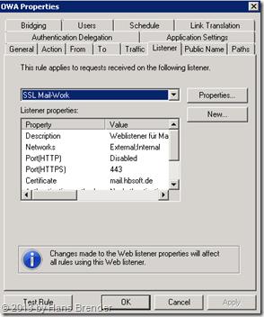 TMG Regel für OWA: Weblistener auswählen