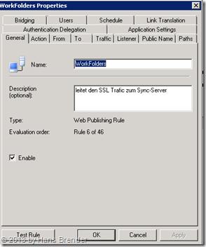 TMG Regel für Work Folders: Name und Beschreibung