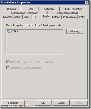 TMG Regel für Work Folders: Protokoll https eintragen