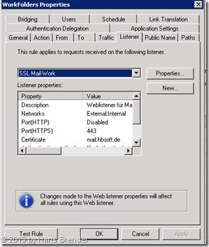 TMG Regel für Work Folders: Weblistener auswählen
