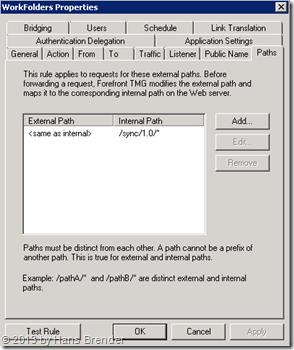 TMG Regel für Work Folders: Pfad umsetzen