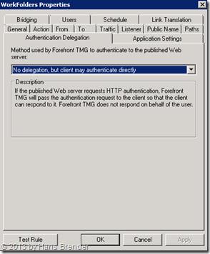 TMG Regel für Work Folders: keine Authentifizierung