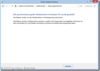 WorkFolders - Arbeitsordner einrichten: Synchronisierung wird gestartet