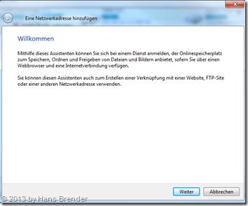 Windows 7: Explorer - Netzwerklaufwerk verbinden