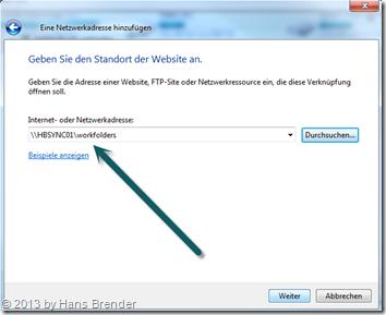 Windows 7: Explorer - Netzwerklaufwerk verbinden - Benutzerdefinierte Adresse ausgewählt