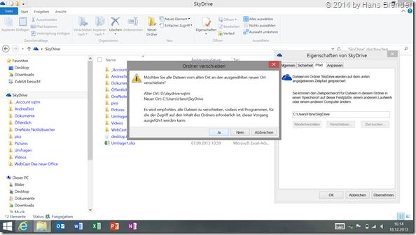 Sicherheitsabfrage SkyDrive Ordner verschieben unter Windows 8.1