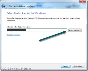 Windows 7: Explorer - Netzwerklaufwerk verbinden - Benutzerdefinierte Adresse auswählen