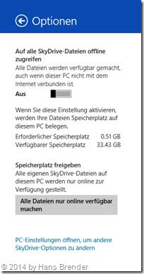 SkyDrive-App globale Einstellungen