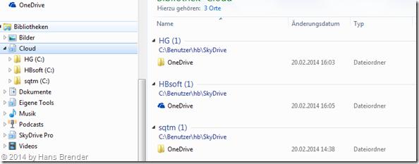 OneDrive: mehrere Konten unter Windows 7