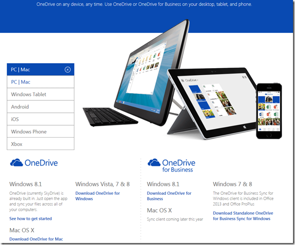 Download Page für Onderive und OneDrive for Business