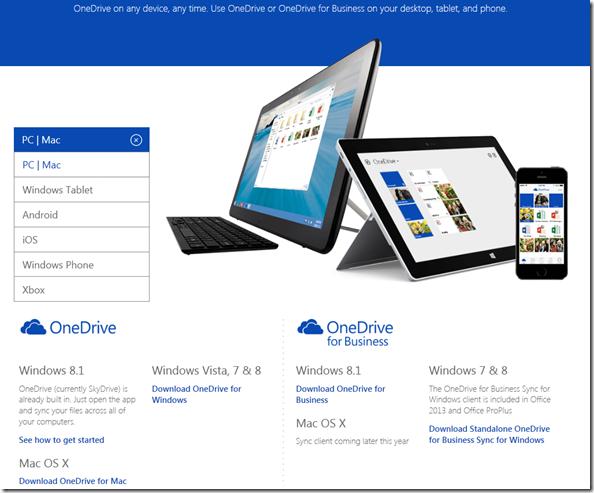 Download Page für Onderive und OneDrive for Business