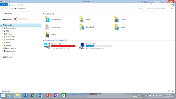 nach Windows 8.1. Update: OneDrive