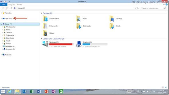 Windows 8.1 Update: Explorer and the remaned SkyDrive