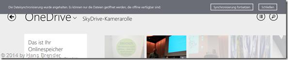 Windows 8.1 Update: Hinweis, Synchronisierung abgeschaltet