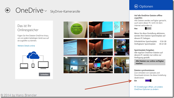 Ausschalten der Synchronisierung in der Modern App OneDrive