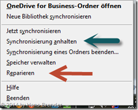 Repair option in Onedrive for Business, systray context menu