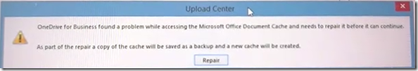 error message in Microsoft Office Upload Center