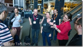 Lobby discussions with Agnes Molnar, Martina Grom, Christian Glessner, Jeremy Seghers
