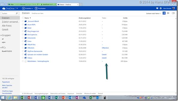 OneDrive im Web-Browser: Anzeige geteilt