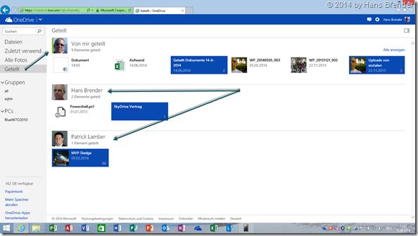OneDrive im Web-Browser: Übersicht geteile Dateien und mit mir geteilte Dateien
