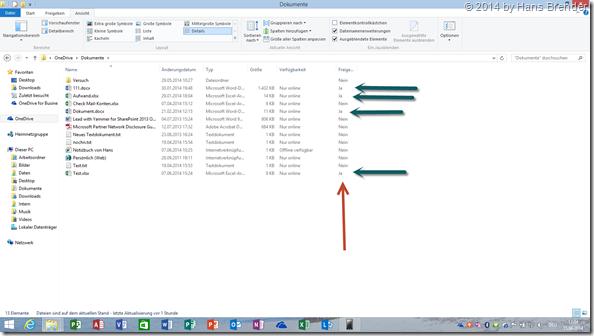 OneDrive: Windows 8.1 Explorer mit Anzeige geteile Dateien