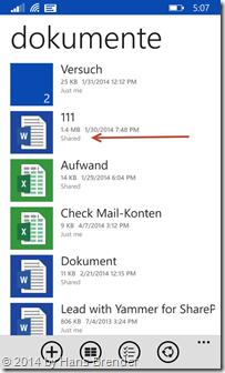 Windows Phone 8.1: Anzeige von geteilten Dateien