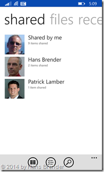 Windows Phone 8.1: Anzeigen aller geteilte Dateien und mit mir geteilte Dateien