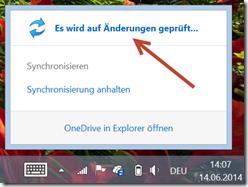 OneDrive Anzeige: erzwungenes Synchronisieren