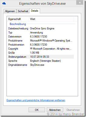 SkyDrive.exe nach dem Patch 29806564