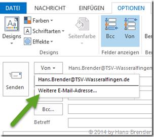 Outlook 2013: E-Mail: weitere E-Mail Adresse hinzufügen