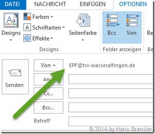 Outlook 2013: E-Mail: mit freigegebeben Postfach versenden