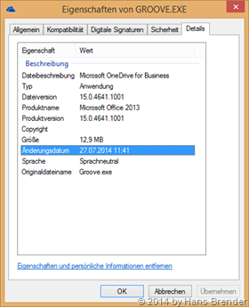 OneDrive for Business, Groove.exe, Version 15.0.4641.1001