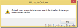 Outlook 2013: Restart