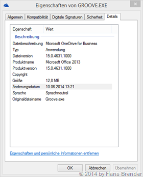 OneDrive for Business = Groove.exe , Version 15.0.4631.1000