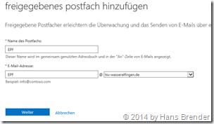 Office 365: freigegebenes Postfach hinzufügen