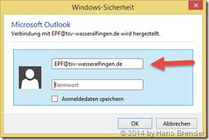 Outlook: Konto Daten und Passwort eintragen