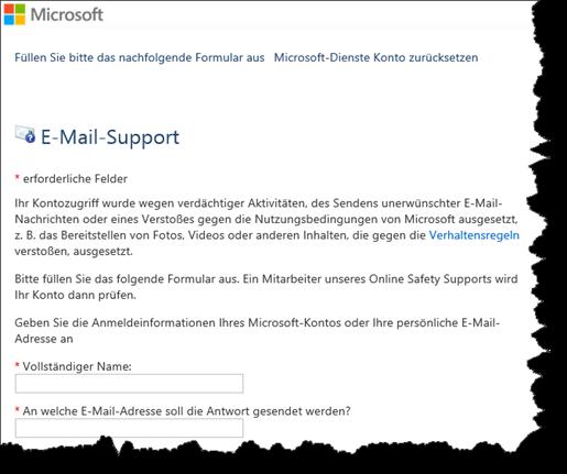 Microsoft Formular für das Zurücksetzten des Konto