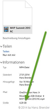 a 4.3 GB mp4 Video stored in OneDrive