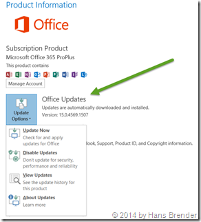 Update options inside Office with C2R