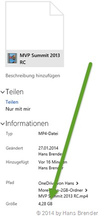 ein 4,28 GB grosses Video in (.mp4) gespeichert in OneDrive