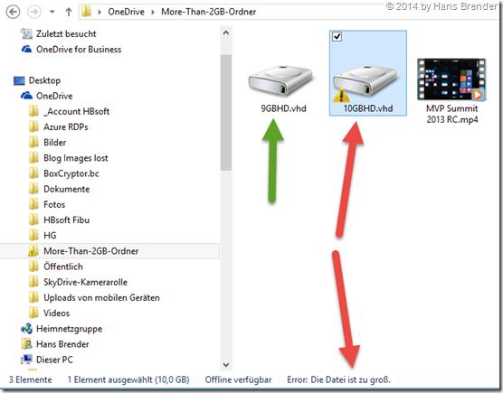 OneDrive: Beschränkung bei Dateien größer 10 GB