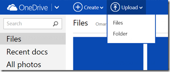 OneDrive, Folder Upload