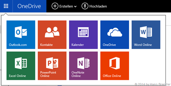 app launcher in Outlock com, OneDrive, ...