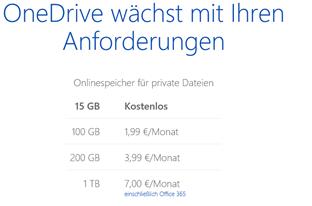 OneDrive und Kosten