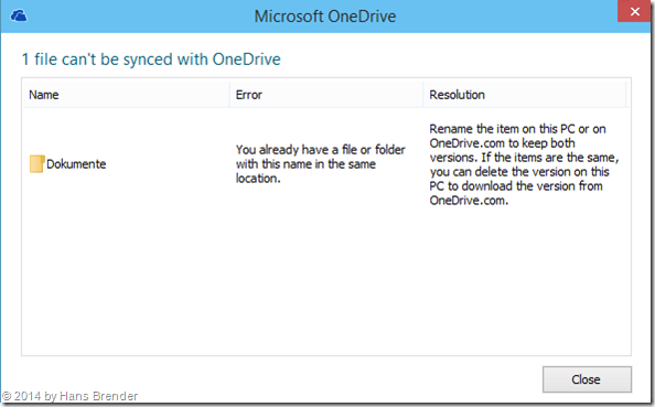 Windows Tecnical Preview- Build 9879: OneDrive: aussagekräftige Fehlermeldung