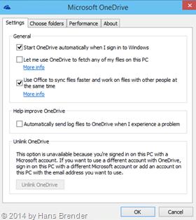 Windows Tecnical Preview- Build 9879: OneDrive Eigenschaften