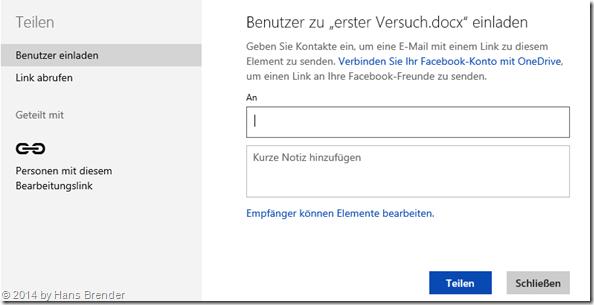 Windows Tecnical Preview- Build 9879: OneDrive: Benutzer einladen